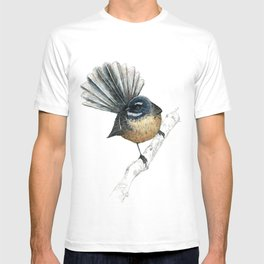 Mr Pīwakawaka, New Zealand native bird fantail T-shirt