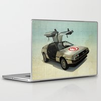 delorean Laptop & iPad Skins featuring Number 3 - DeLorean by Vin Zzep