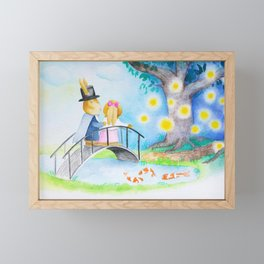 Into Fairyland We Go - Romantic Bunny Rabbits Framed Mini Art Print