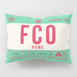 Retro Airline Luggage Tag 2.0 - FCO Rome Airport Italy Pillow Sham