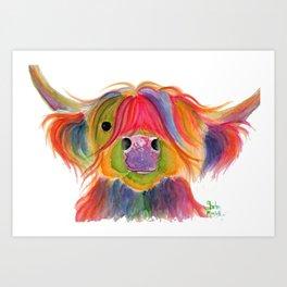 Scottish Highland Cow ' PENELOPE PLUM ' by Shirley MacArthur Art Print