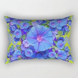 Lime-Blue Morning Glories Pattern Art Rectangular Pillow