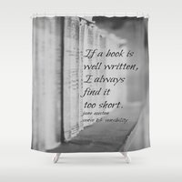 jane austen Shower Curtains featuring Jane Austen Book by KimberosePhotography