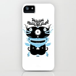 Black and blue fish creature iPhone Case