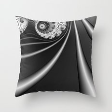 Black and White Fractal 15 Throw Pillow