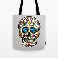 mexican Tote Bags featuring Mexican Skull by Pancho the Macho