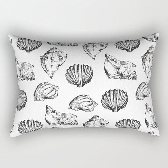 Seashells. Black and white Rectangular Pillow