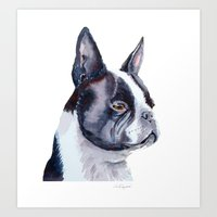 boston terrier Art Prints featuring Boston terrier by Doggyshop