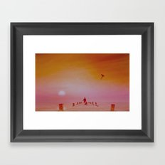 Boy with kite and dog Framed Art Print