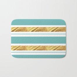 Gold and Aqua Blue Stripes Bath Mat