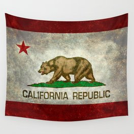 Californian flag the Bear flag in retro grunge Wall Tapestry