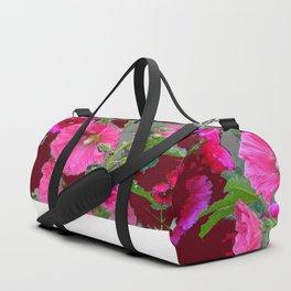 PINK- PURPLE COTTAGE  HOLLYHOCKS WHITE & GREY GARDEN Duffle Bag