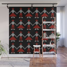Romanian Hora people cross-stitch pattern black Wall Mural