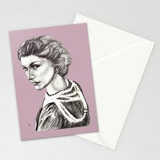Coco portrait with pearls Stationery Cards