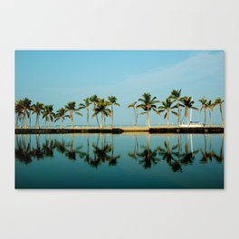 Waikoloa Beach Hawaii.. Morning Palm Reflection Canvas Print