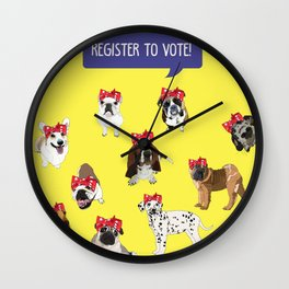 Political Pups-Register to Vote! Wall Clock
