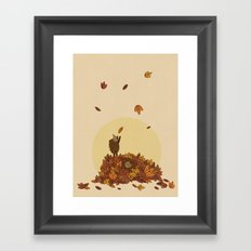 Autumn Hedgehogs Framed Art Print