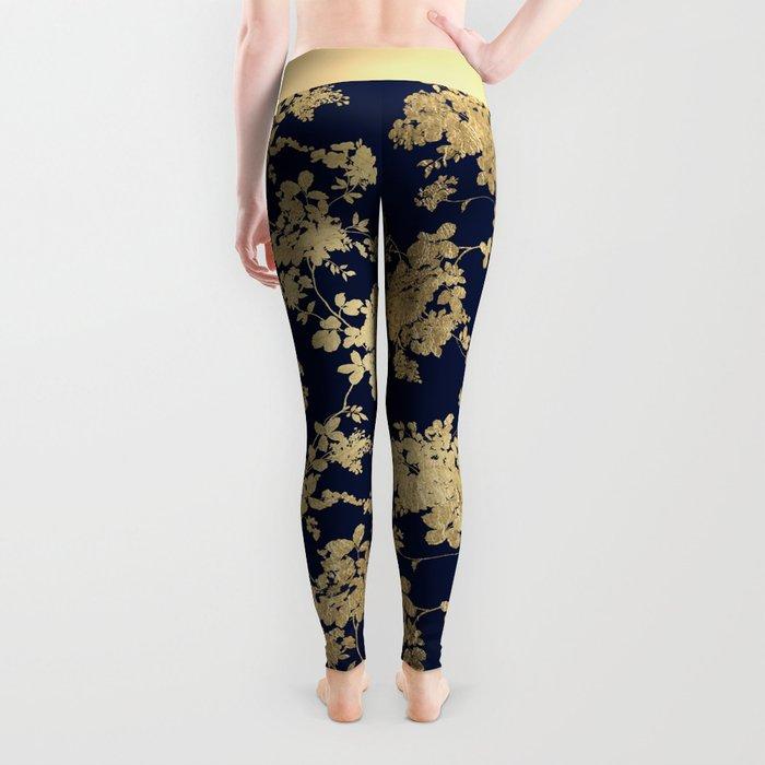 Elegant vintage navy blue faux gold flowers Leggings