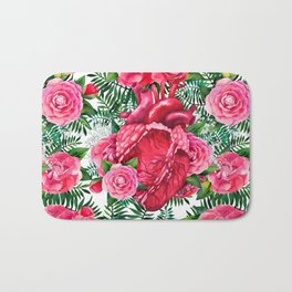 Watercolor heart with floral design Bath Mat
