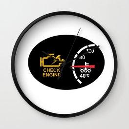 Check Engine Warning Symbol Icon Wall Clock