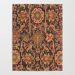 Floral Medallion I // 18th Century Colorful Blue Lime Green Pink Sapphire Plum Burlap Brown Pattern Poster