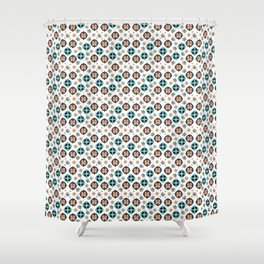 Butterfly And Flower Medallions - Pearl Color Shower Curtain