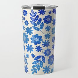 Blue China Floral Pattern Travel Mug
