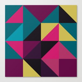 Triangle Shapes Texture, Retro Style, Purple, Turquoise, Yellow, Pink and Black Canvas Print