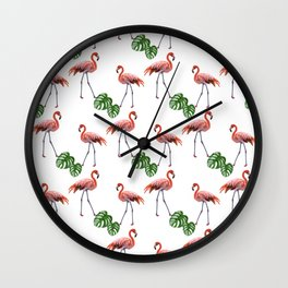 Flamingo & monstera pattern Wall Clock