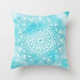 Blue Sky Mandala in Turquoise Blue and White Throw Pillow