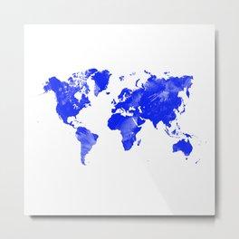 Blue watercolor world map Metal Print