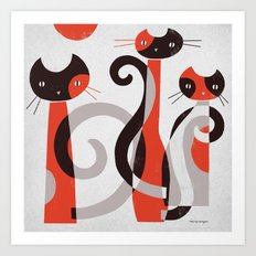 RED BLACK & GRAY Art Print