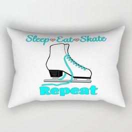 Sleep-Eat-Skate-Repeat in Turquoise Rectangular Pillow