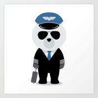 aviation Art Prints featuring Aviation Bear by Elle Moz