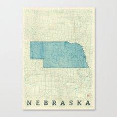 Nebraska State Map Blue Vintage Canvas Print