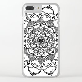 Mandala Dentelle black By Sonia H. Clear iPhone Case
