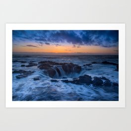 Thor's Well at Sunset Art Print