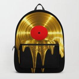 Melting vinyl GOLD / 3D render of gold vinyl record melting Backpack