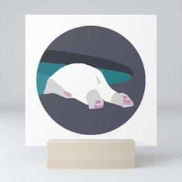 Sad Polar Bear in the Zoo, Bury His Head in the Pool Mini Art Print