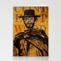 clint eastwood Stationery Cards featuring Clint Eastwood by Olga Ko