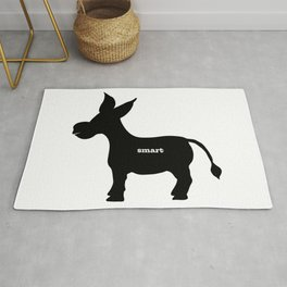 Smart! - Smart Donkey - Funny Art- Silhouette - 57 Montgomery Ave Rug