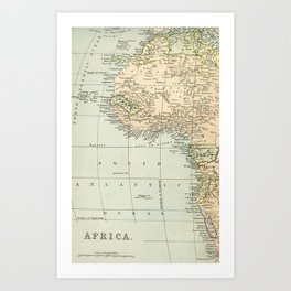 West  & North Africa Vintage Map Art Print