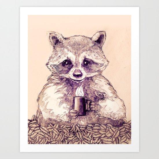 Caffeinated Raccoon Art Print