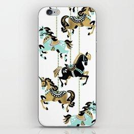 Carousel Horses – Mint & Gold Palette iPhone Skin