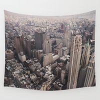 manhattan Wall Tapestries featuring Manhattan by Dominique Weber