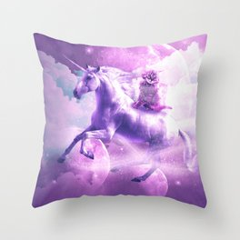 Kitty Cat Riding On Flying Space Galaxy Unicorn Throw Pillow
