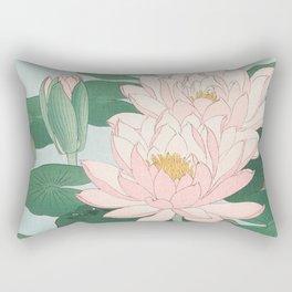 Water Lilies - Japanese vintage woodblock print Rectangular Pillow