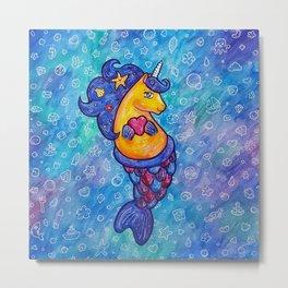 Cute Mermicorn Ocean Doodle Metal Print