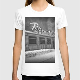Rosie's Diner Photograph in Infrared Black & White by Rockford, Michigan T-shirt