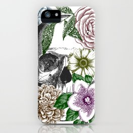 Floral Skull Etching iPhone Case